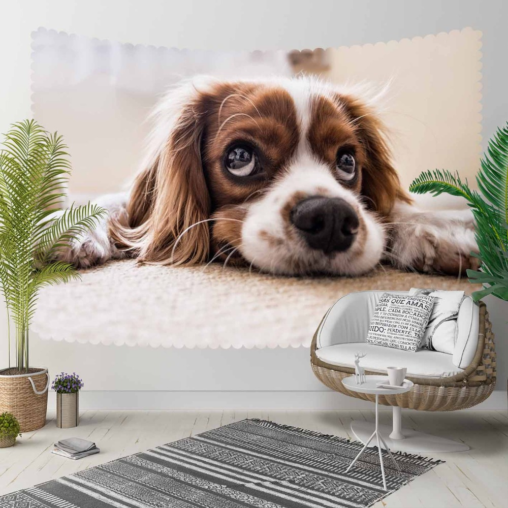 Else Brown White Sleepy Cute Funny Dogs Animal 3D Print Decorative Hippi Bohemian Wall Hanging Landscape Tapestry Wall Art