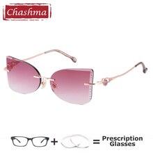 Chashma Women Eyeglasses Prescription Cat Eye Lenses Butterfly Frame Luxurious Fashion Myopia Gradient Sunglasses with Diamonds