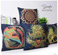 45x45cm Chinese Vintage Style Dragon Phoenix Totem Cushion Pillow Covers Sofa Pillowcase Household Decoration Case For
