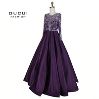 Real Photos Gown Party Illusion Ball Gown Handmade Crystal Long Sleeves Long Prom Dress Evening Beaded