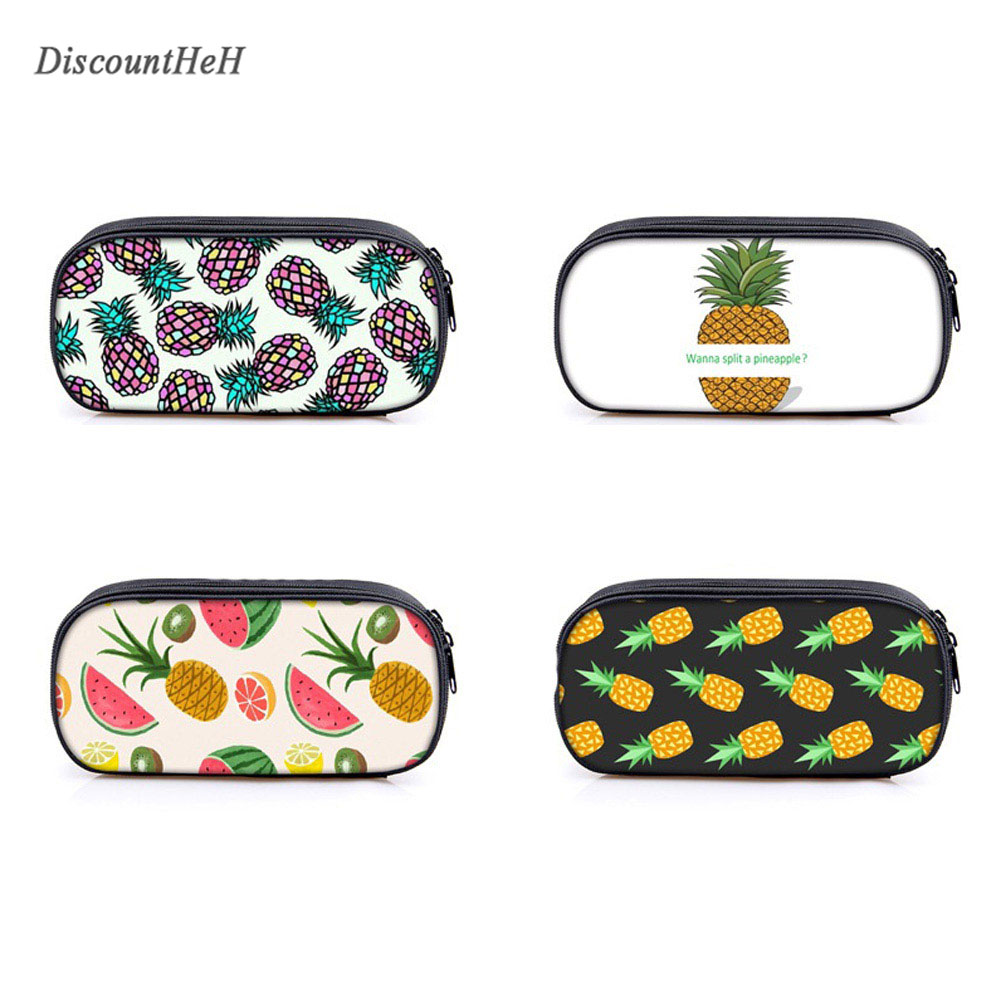 2017 New Pineapple Printing Cute Boys and Girls Pencil case stationery Escolar Papelaria student New semester Gifts handpainted pineapple and fern printed pillow case
