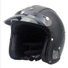 2017 Harley Capacetes de Couro 3/4 Da Motocicleta Chopper Moto capacete aberto da cara do capacete da motocicleta do vintage