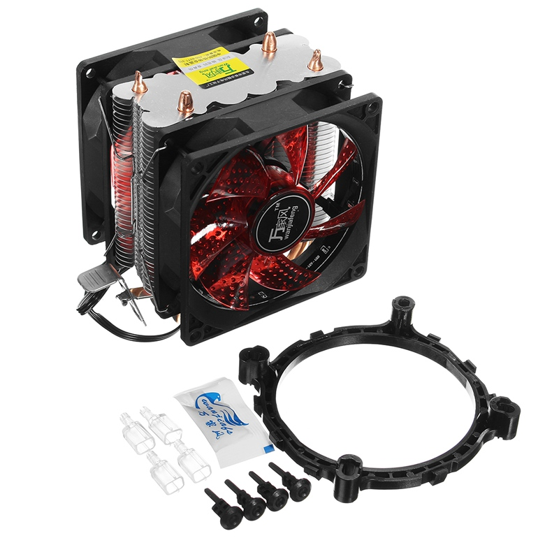LED 2 Heat Pipe Quiet CPU Cooler Heatsink Dual Fan For LGA 1155 775 1156 AMD 12V Dual CPU Cooler Quiet Powerful Fan For AMD cpu cooling cooler fan heatsink 7 blade for intel lga 775 1155 1156 amd 754 am2 levert dropship sz0227