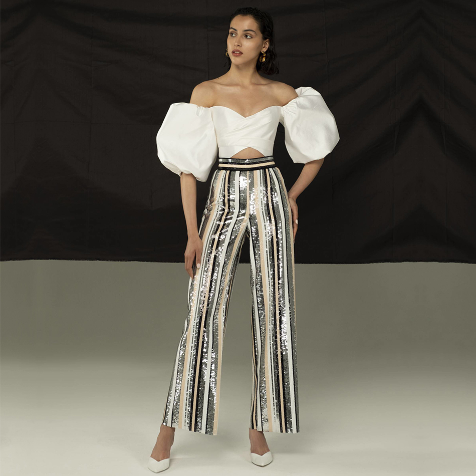 Adyce 2019 New Summer Women Runway Sequined   Pants   Fashion   Wide     Leg     Pants   Elegant Celebrity Evening Party Club   Pants   Trousers