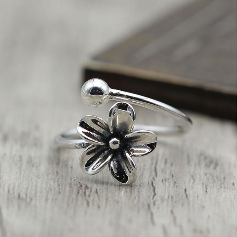 925 Sterling Silver Cute Flower Open Rings For Women High Quality Fashion Style Lady Gift Prevent Allerg Sterling-silver-jewelry