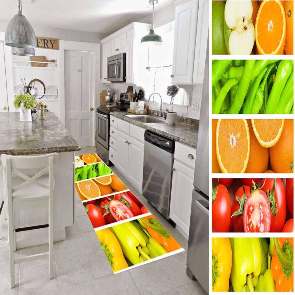 Else Red Tomato Orange Green Pepper Vegetable 3d Print Non Slip Microfiber Washable Long Runner Mat Kitchen Rugs Hallway Carpets