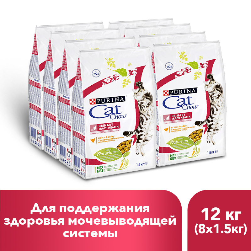 Dry food Cat Chow for adult cats provides urinary tract health, 12 kg.