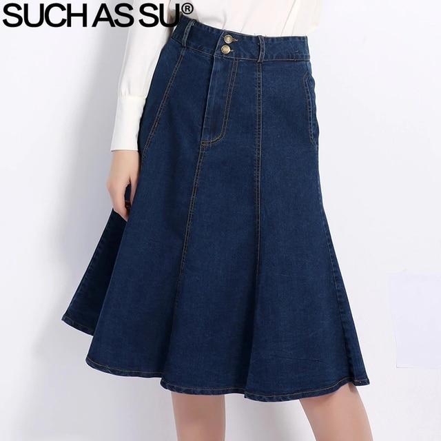 SUCH AS SU New Korean Denim Skirt 2017 Fashion Blue Slim High Waist Mid Long  A-Line Skirt Size S-XXXL Women Jean Skirt 891141107e95