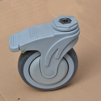 Free Shipping 5 Inch Plastic Super Synthetic Rubber TPR Medical Bed Caster With Brake Ball Bearing
