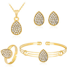 Crystal Water Drop Jewelry Sets For Women Rhinestones Gold Color Collar Necklace Stud Earrings Bangle Ring Jewellery Set