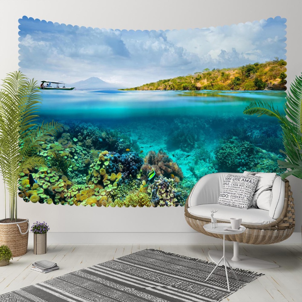 Else Blue Sky Water Under Sea Green Floral 3D Print Decorative Hippi Bohemian Wall Hanging Landscape Tapestry Wall Art