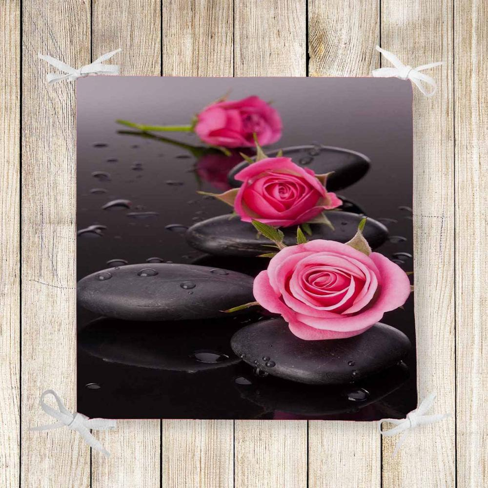 Else Black Spa Stones Pink Roses Flowers 3d Chair Pad Seat Cushion Soft Memory Foam Full Lenght Ties Non Slip Washable Zipper