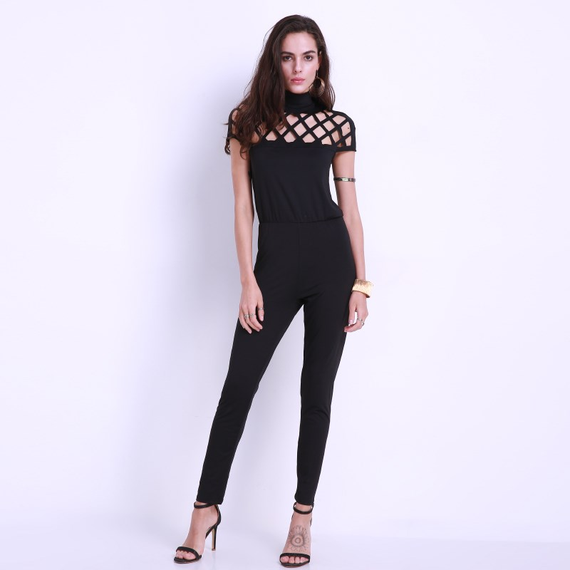 2018 Brand Women Jumpsuits Sexy High Chocker Neck Cut Out Bandage Long Rompers Trousers Casual Short Sleeve Hollow Out Overalls