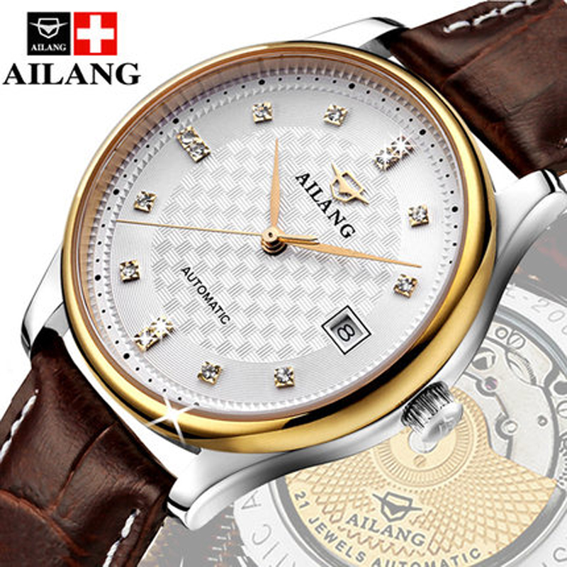 AILANG luxury brand classic gold men full steel watch automatic mechanical self-wind watches business designer dress wristwatch brand ailang men luxury gold plated business dress watches stainless steel calendar wrist watch auto self wind reloj 3atm nw3317