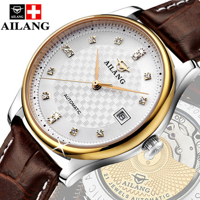 c218d59d1fa AILANG clássico marca de luxo homens de aço cheio de ouro relógio mecânico  automático auto-vento relógios designer de negócios vestido relógio de pulso