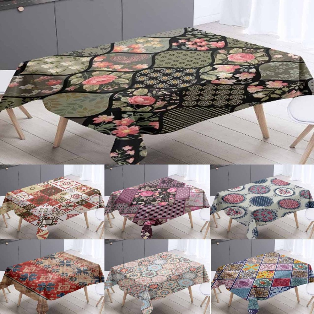 Else Ethnic Turkish Vintage Rose Patchwork 3d Tablecloth Washable Dustproof Thicken Cotton Cloth Rectangul Square Table Cloth title=