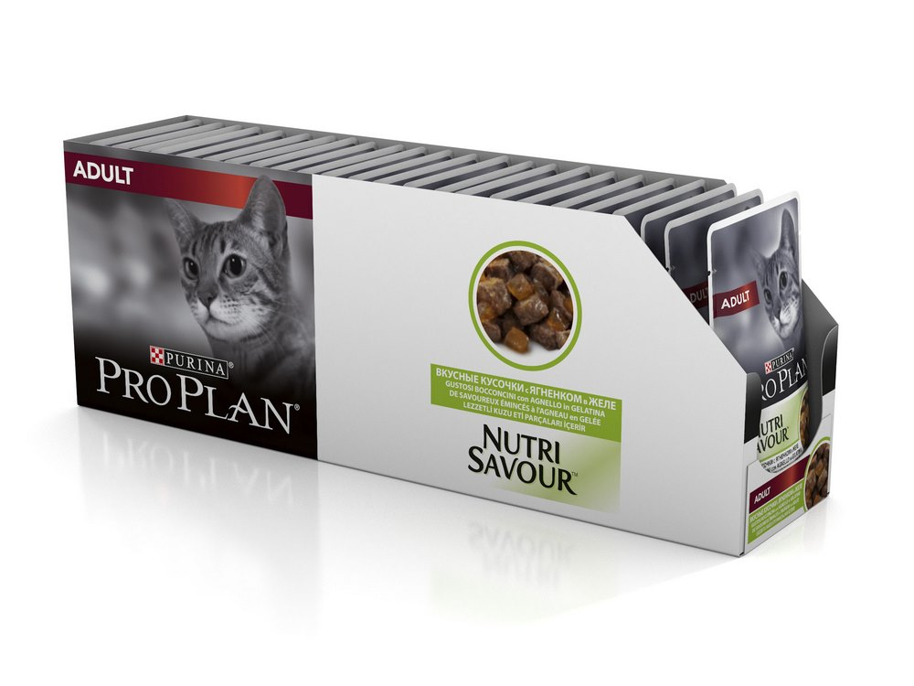Cat wet food Pro Plan Adult spider for adult cats, Lamb (pieces in jelly, 24*85 g) wet pro plan feed for adult cats with lamb in jelly 85 g x 24 pcs