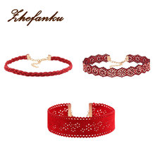 3Pcs/set PU Leather Red Lace Flower Choker Necklace For Women Infinity Jewelry Gifts Collier Femme Bijoux