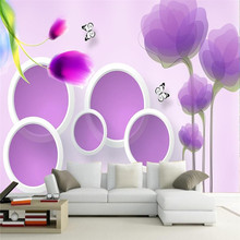 3D Vector Purple Tulips Trees Circle Background Wall Professional Production Wallpaper Mural Custom Home