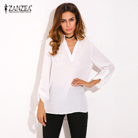 2018 Summer ZANZEA Women Vintage Blouses Sexy V Neck Long Roll Up Sleeves Solid   Shirt   Casual Loose Chiffon Blusas Tops Plus Size