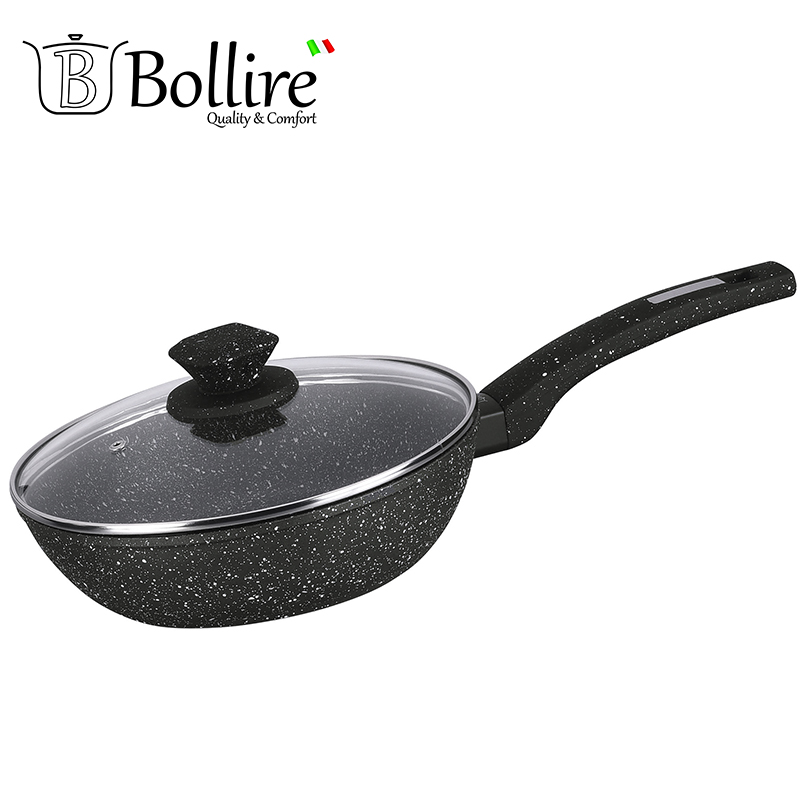 BR-1010 pan deep frying Bollire FULL INDUCTION BOTTOM Non-stick layer Frying Pan High quality Flat bottom cookware portable silicone pp oil cleaning scraper for frying pan yellow white