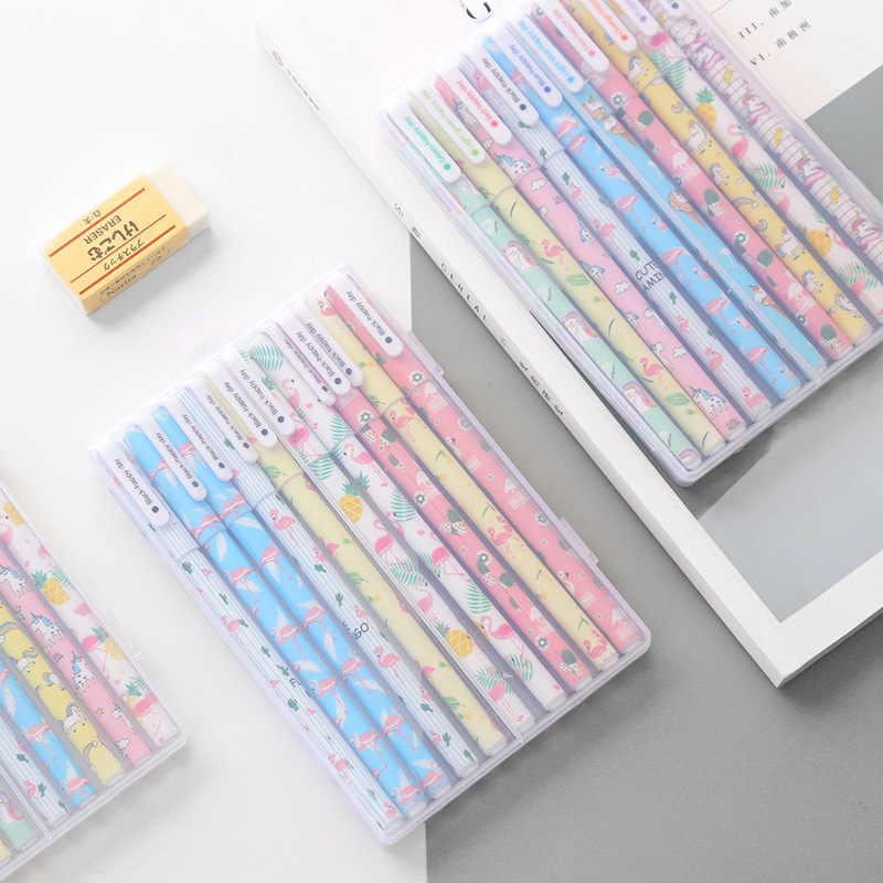 10 шт./кор. Фламинго гелевая ручка с единорогом для письма с рисунками зверей из мультфильмов Чернила Канцелярские Принадлежности для офиса школы поставить героя из мультфильма