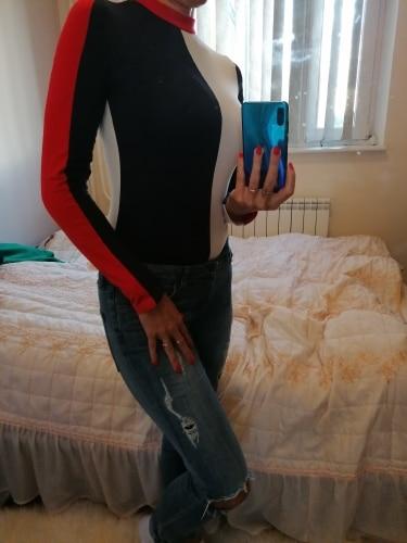 Cotton Bodycon Bodysuit Long Sleeve Contrast Color Sexy Bodysuit Women Skinny Bodysuit Elegant Jumpsuit Overalls photo review