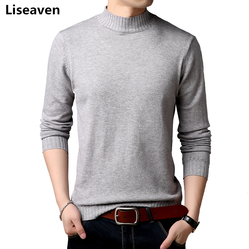 Liseaven Winter Fashion Brand Men Casual Sweater Turtleneck Knitting Mens Sweaters And Pullovers Men Pullover Sweater