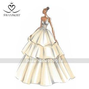 Image 5 - Swanskirt Vestido de boda personalizado 02 Sarahjah, apliques DZ, pelota personalizada, hecho en china, de talla grande, Vestido de novia