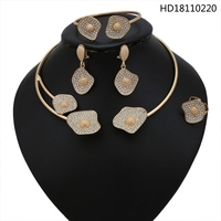 YULAILI Fashion African Jewellery Gold Color Choker Necklace Jewelry Set with Rhinestone for Ladies Party Accessories