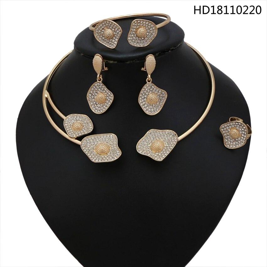 YULAILI mode bijoux africains couleur or collier ras du cou bijoux sertis de strass pour dames accessoires de fête