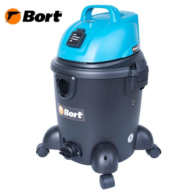 Пылесос для сухой и влажной уборки Bort BSS-1220 (Мощность 1200 Вт, вместимость пылесборника 20 л, длина шланга 2 м, функция выдува и сбора жидкости, подключение электроинструмента, длина кабеля 6 м)