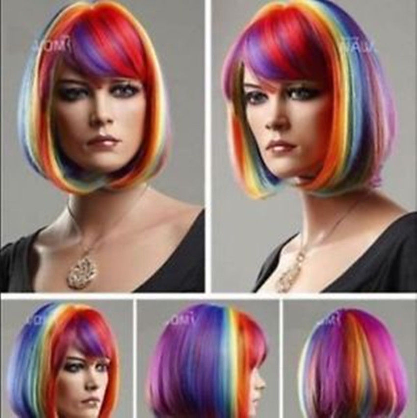 Hot sales short BOB Multicolor Rainbow Cosplay Wigs >>>girls Cosplay wig Free shipping