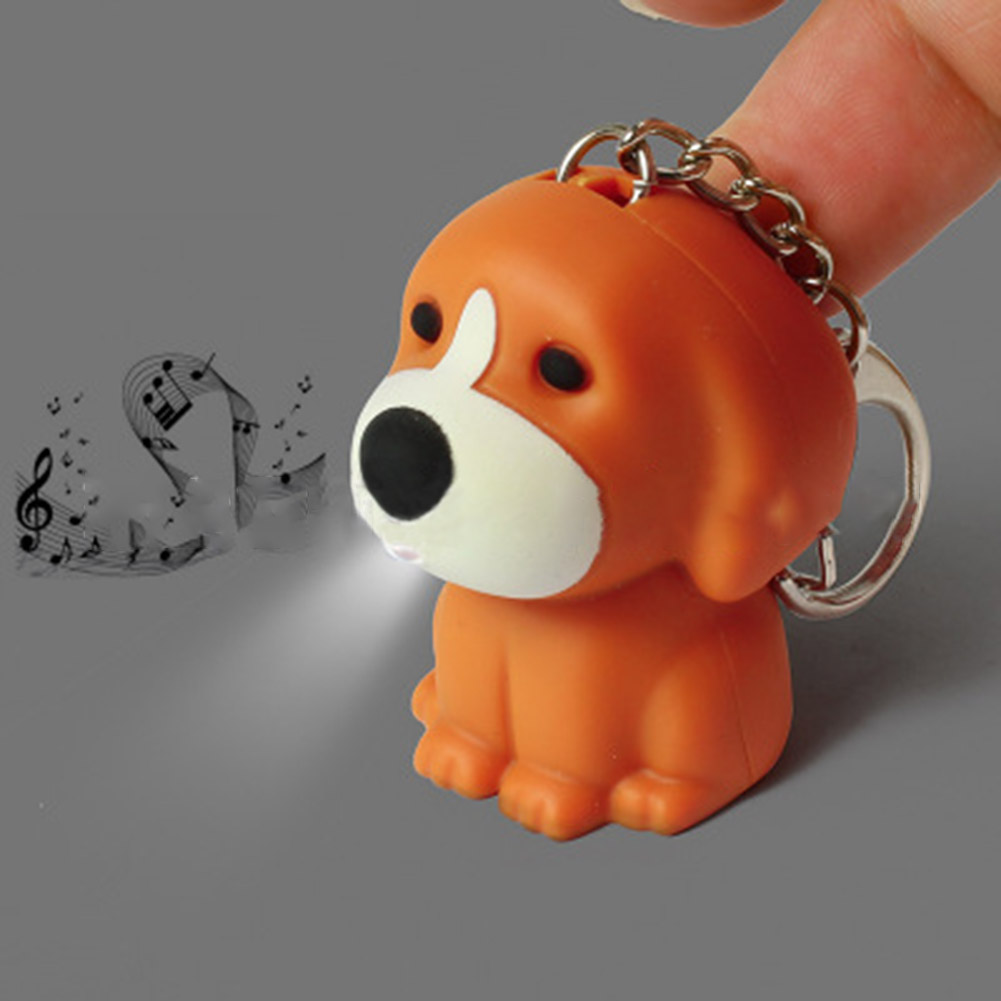 New arrive Cartoon 3D Key ring with sound Toy Christmas children gift Puppy dog Led keychain The new strange new toy