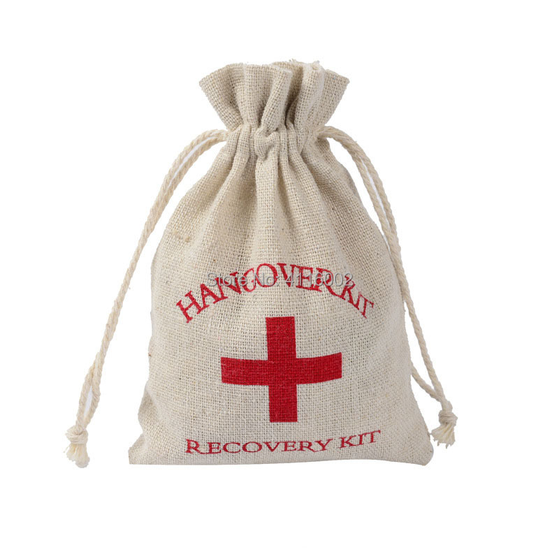 4x6 Hangover Kit Glitter Red Cross Cotton Muslin Bags Wedding Favors Gifts Gift Wrap First Aid Gift Bags for Holiday
