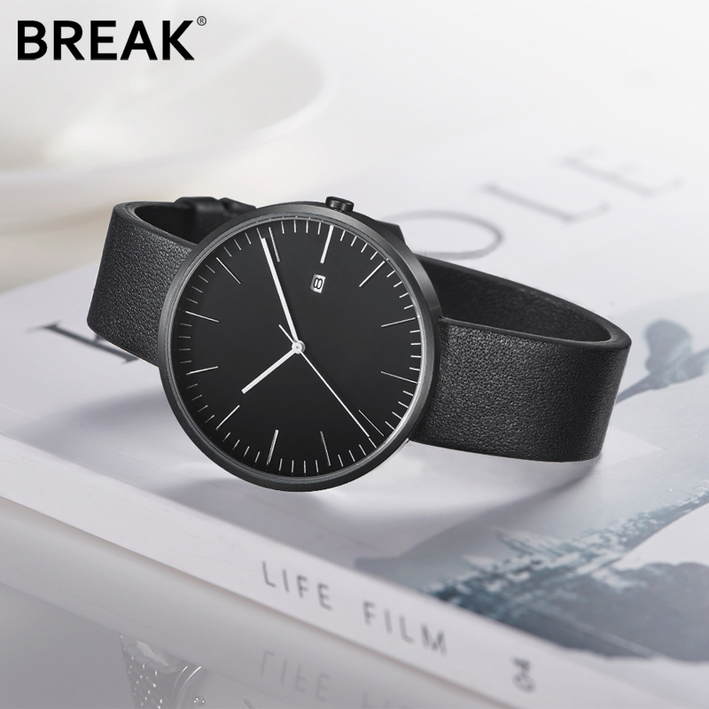 Break Top Men Women Simple Fashion Style Quartz Wristwatch Steel Case Genuine Leather Galendar Waterproof for Business WatchesBreak Top Men Women Simple Fashion Style Quartz Wristwatch Steel Case Genuine Leather Galendar Waterproof for Business Watches