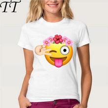 901f3ee5a308 Cumpleaños chica Emoji con flor corona Camiseta de manga corta Mujer suave  tela casual chica Tops