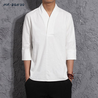 MRDONOO Men S Autumn Three Quarter Sleeve Linen T Shirt Chinese Style Retro Loose Half Sleeve