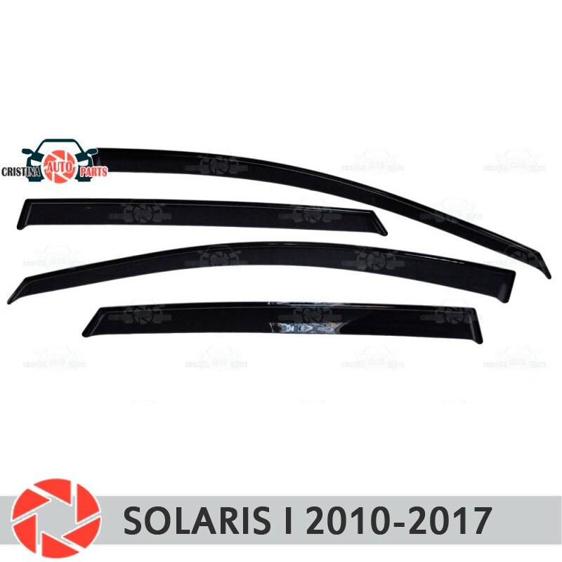Ventana deflectores para Hyundai Solaris 2010-2017 lluvia deflector de suciedad protección estilo de coche accesorios de decoración de