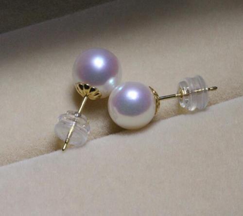 Top AAAA 8-8.5mm véritable naturel japonais Akoya blanc rond perle boucles d'oreilles>>> filles jades livraison gratuite