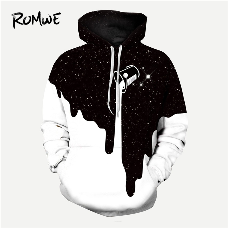 ROMWE Males 3D Milk Print Hooded Sweatshirt Male Autumn Rock Lengthy Sleeve Clothes Black And White Drawstring Pullovers Hoodie Hoodies & Sweatshirts, Low cost Hoodies & Sweatshirts, ROMWE Males...