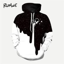 6f23f63e0 ROMWE para hombres 3D leche imprimir Sudadera con capucha hombre otoño Rock ropa  de manga larga en blanco y negro de Pullovers S..