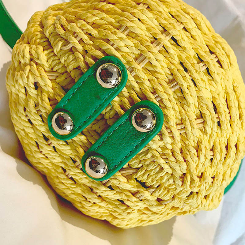 Women Pineapple Handbag Female Messenger Bags Straw Beach Crossbody Bag Lady Fashion Rattan Clutches Tote Knitted SS3010 (9)