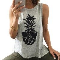 2017 Summer Women Tops Fruit Pineapple Print O Neck Loose Sleeveless Casual Tank T Shirt Women