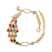New Alloy Women Lady Jewelry Retro Vintage Gold Elegant Romantic Fashion Rhinestone Colorful Peacock Bracelet Anklets Bracelet