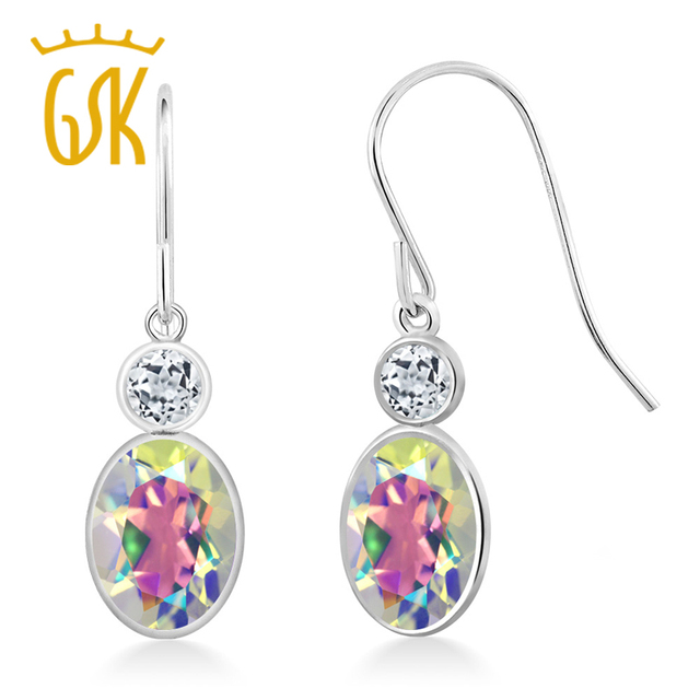 Gemstoneking 2 18 Ct Oval Natural Mercury Mist Mystic Topaz White Drop Earrings For Women 14k