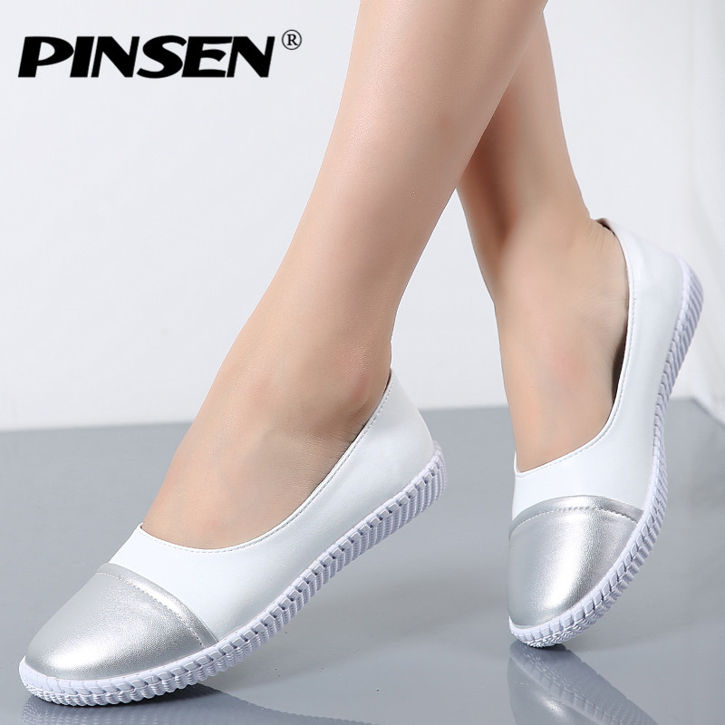 PINSEN High Quality Women Oxfords Flats Platform shoes Genuine Leather Lace-up Round Toe Creeper White Loafers Shoes For Women tfsland men women genuine leather loafers students white shoes unisex spring round toe lace up breathable walking shoes sneakers