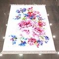 Sonst Weiß Boden auf Rosa Rosen Blau Floral 3d Muster Druck Mikrofaser Anti Slip Zurück Waschbar Dekorative Kelim Bereich Teppich teppich