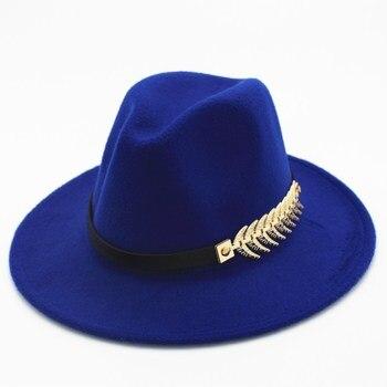 4d40080bb3718 Seioum Hoja de Los Hombres Sombrero de Fieltro Sombreros Fedora con la  Correa de Las Mujeres de La Vendimia Trilby Caps de Lana Fedora Jazz  Sombrero Chapeau ...