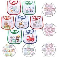 7pcs Bag 6 Types Baby Waterproof Bibs Cartoon Feeding Baby Girls Boys Bib Burp Cloth 0